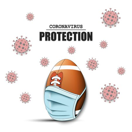 Football ball with a protection mask and cells coronavirus bacteriums. Stop covid-19 outbreak. Caution risk disease 2019-nCoV. Cancellation of sports tournaments. Pattern design. Vector illustration