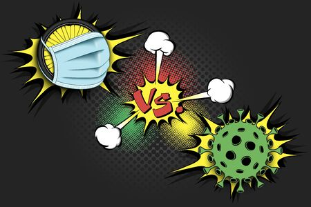 Banner cycling vs covid-19. Bicycle wheel with a protection mask against coronavirus sign. Cancellation of sports tournaments. The worldwide fight against the pandemic. Vector illustration