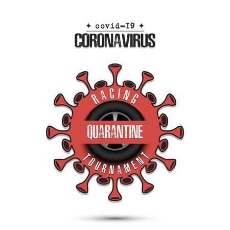 Coronavirus sign with car wheel. Mode quarantine. Stop covid-19 outbreak. Caution risk disease 2019-nCoV. Cancellation of sports tournaments. Pattern design. Vector illustration