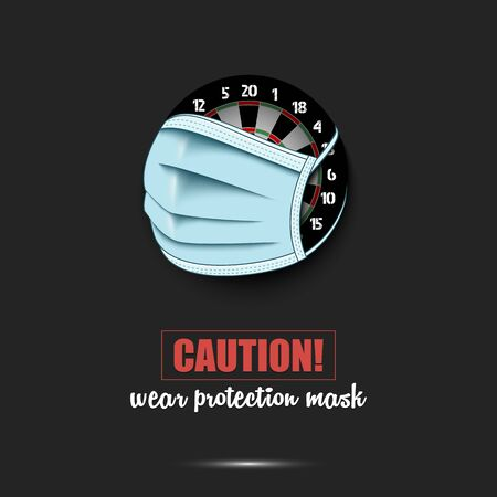 Dartboard with a protection mask. Caution! wear protection mask. Stop coronavirus covid-19 outbreak. Risk disease. Cancellation of sports tournaments. Pattern design. Vector illustration