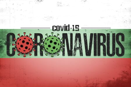 Flag of Bulgaria with coronavirus covid-19. Virus cells coronavirus bacteriums against background of the flag of Bulgaria. Coronavirus outbreak in Bulgaria. Quarantine.