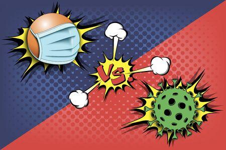 Banner table tennis ball vs covid-19. Vectores
