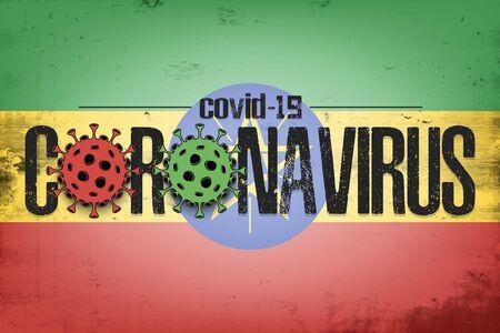 Flag of Ethopia with coronavirus covid-19. Virus cells coronavirus bacteriums against background of the flag of Ethopia. Coronavirus outbreak in Ethopia. Mode quarantine. Vector illustration 일러스트