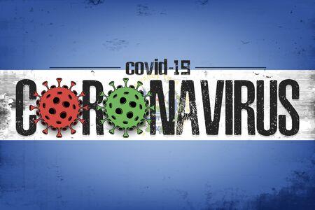 Flag of Salvador with coronavirus covid-19. Virus cells coronavirus bacteriums against background of the flag of Salvador. Coronavirus outbreak in Salvador. Mode quarantine. Vector illustration