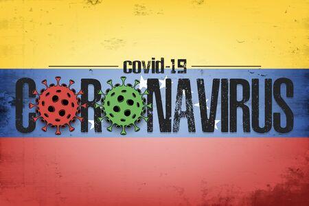 Flag of Venezuela with coronavirus covid-19. Virus cells coronavirus bacteriums against background of the flag of Venezuela. Coronavirus outbreak in Venezuela. Mode quarantine. Vector illustration