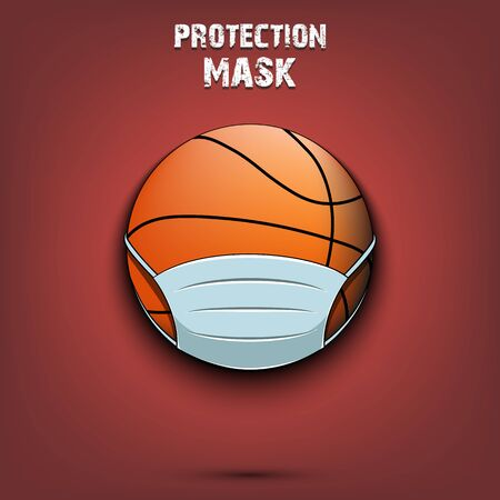 Basketball ball with a protection mask. Caution! wear protection mask. Risk disease. Cancellation of sports tournaments. Pattern design. Vector illustration