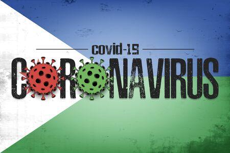 Flag of Djibouti with coronavirus covid-19. Virus cells coronavirus bacteriums against background of the flag of Djibouti. Coronavirus outbreak in Djibouti. Mode quarantine. Vector illustration 일러스트