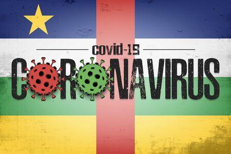 Flag of Central African Republic with coronavirus covid-19. Virus cells coronavirus bacteriums against background of the flag of Central African Republic. Quarantine. Vector illustration