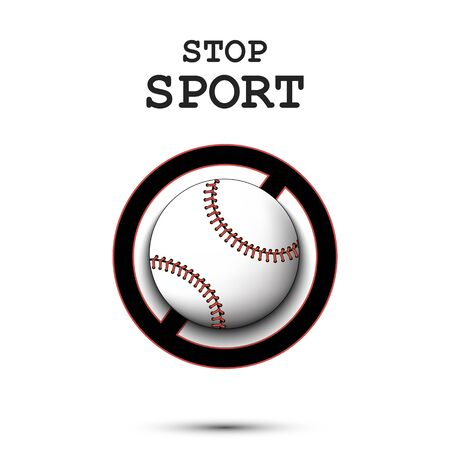Sign stop and baseball ball. Stop sport. Cancellation of sports tournaments. Pattern design. Vector illustration