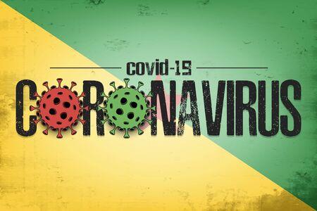 Flag of French guiana with coronavirus covid-19. Virus cells coronavirus bacteriums against background of the flag of French guiana. Coronavirus outbreak in French guiana. Vector illustration