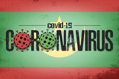 Flag of Mauritius with coronavirus covid-19. Virus cells coronavirus bacteriums against background of the flag of Mauritius. Coronavirus outbreak in Mauritius. Mode quarantine. Vector illustration 일러스트