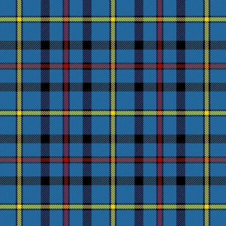 Tartan plaid. Scottish pattern in blue, red and yellow cage. Scottish cage. Traditional Scottish checkered background. Template for design ornament. Seamless fabric texture. Vector illustration Vettoriali