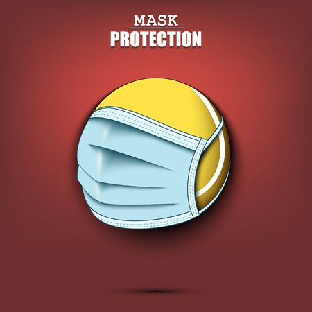 Tennis ball with a protection mask. Caution! wear protection mask. Risk disease. Cancellation of sports tournaments. Pattern design. Vector illustration Vectores