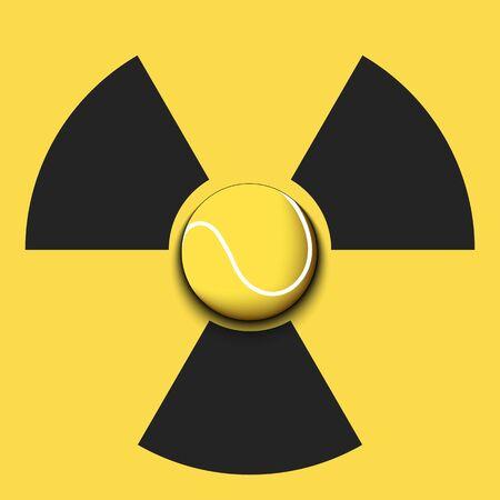 Radiaction symbol with tennis ball. Caution radioactive danger sign. Tennis quarantined. Cancellation of sports tournaments. Vector illustration Ilustração