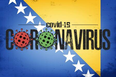 Flag of Bosnia and Herzegovina with coronavirus covid-19. Virus cells coronavirus bacteriums against background of the flag of Bosnia and Herzegovina. Quarantine. Vector illustration