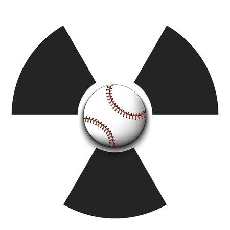 Radiaction symbol with baseball ball. Caution radioactive danger sign. Baseball quarantined. Cancellation of sports tournaments. Vector illustration
