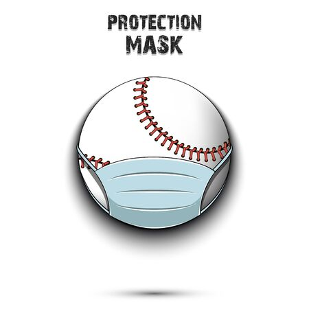 Baseball ball with a protection mask. Caution! wear protection mask. Risk disease. Cancellation of sports tournaments. Pattern design. Vector illustration
