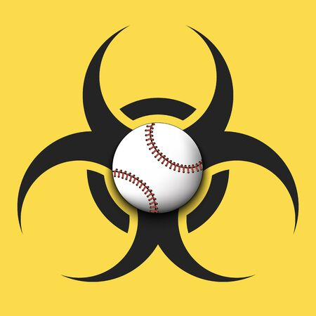 Biohazard symbol with baseball ball. Caution biological danger toxic sign. Baseball quarantined. Cancellation of sports tournaments. Vector illustration Ilustração