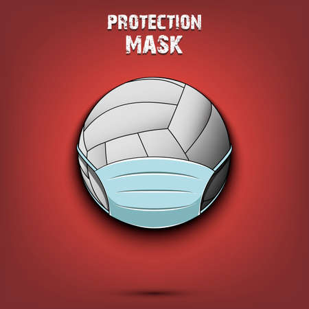 Volleyball with a protection mask. 向量圖像