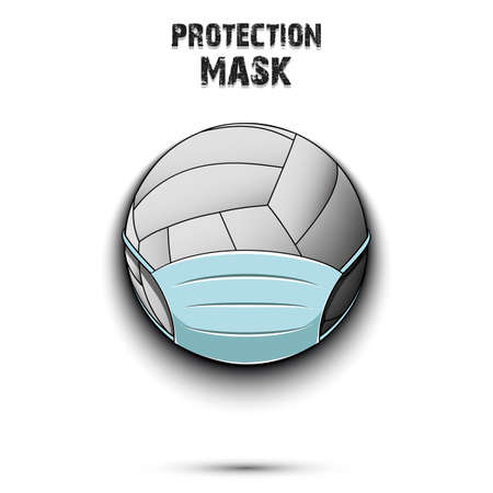 Volleyball with a protection mask 向量圖像