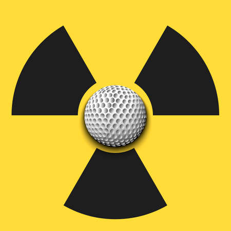 Radiaction symbol with golf ball. Caution radioactive danger sign. Golf quarantined. Cancellation of sports tournaments. Vector illustration