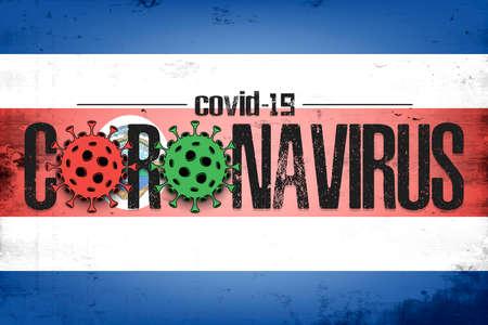 Flag of Costa Rica with coronavirus covid-19. Virus cells coronavirus bacteriums against background of the flag of Costa Rica. Coronavirus outbreak in Costa Rica. Mode quarantine. Vector illustration
