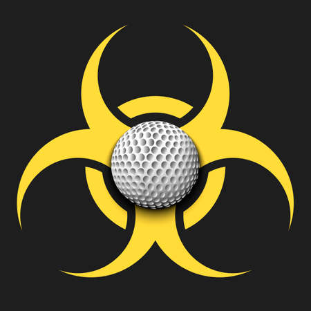 Biohazard symbol with golf ball. Caution biological danger toxic sign. Golf quarantined. Cancellation of sports tournaments. Vector illustration