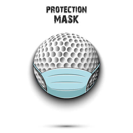 Golf ball with a protection mask. Caution! wear protection mask. Risk disease. Cancellation of sports tournaments. Pattern design. Vector illustration
