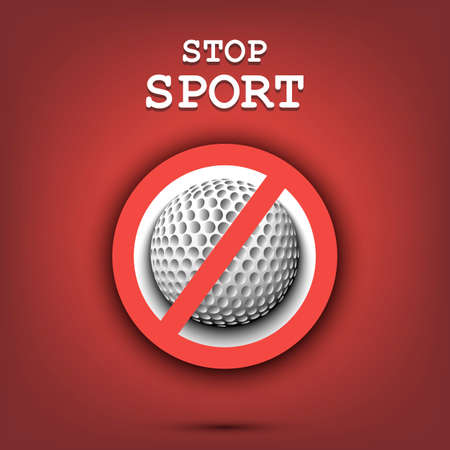 Sign stop and golf ball. Stop sport. Cancellation of sports tournaments. Pattern design. Vector illustration