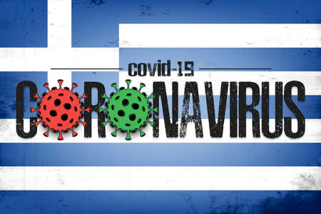 Flag of Greece with coronavirus covid-19. Virus cells coronavirus bacteriums against background of the flag of Greece. Coronavirus outbreak in Greece. Mode quarantine. Vector illustration