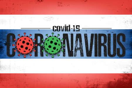 Flag of Thailand with coronavirus covid-19. Virus cells coronavirus bacteriums against background of the flag of Thailand. Coronavirus outbreak in Thailand. Mode quarantine. Vector illustration