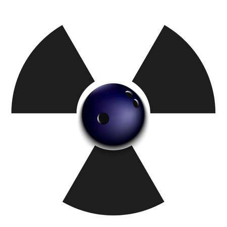 Radiaction symbol with bowling ball. Caution radioactive danger sign. Bowling quarantined. Cancellation of sports tournaments. Vector illustration Illustration