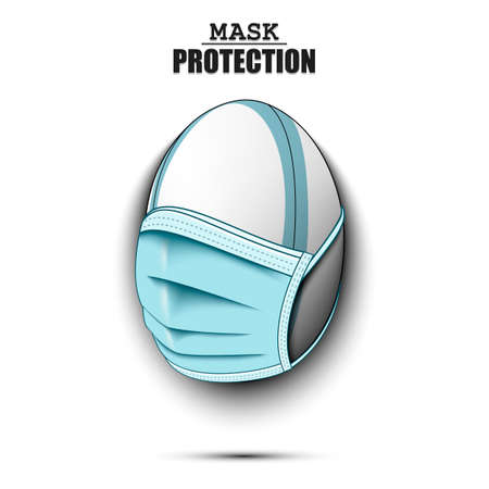 Rugby ball with a protection mask. Caution! wear protection mask. Risk disease. Cancellation of sports tournaments. Pattern design. Vector illustration