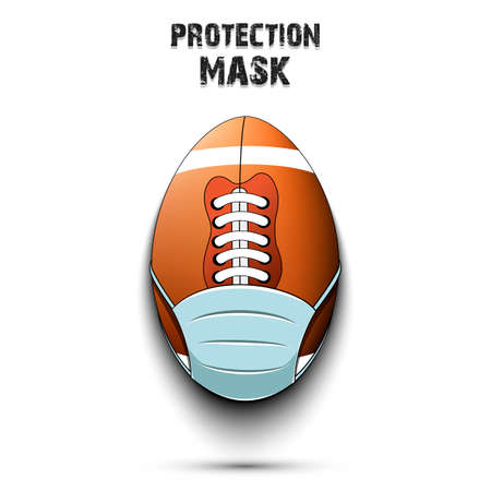 Football ball with a protection mask. Caution! wear protection mask. Risk disease. Cancellation of sports tournaments. Pattern design. Vector illustration