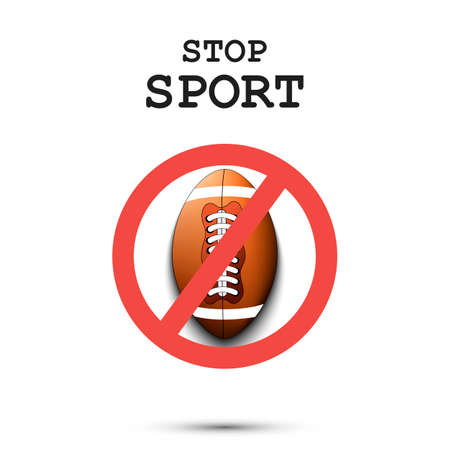 Sign stop and football ball. Stop sport. Cancellation of sports tournaments. Pattern design. Vector illustration