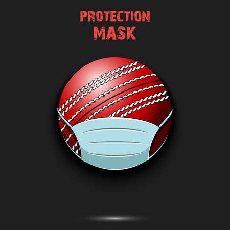 Cricket ball with a protection mask. Caution! wear protection mask. Risk disease. Cancellation of sports tournaments. Pattern design. Vector illustration
