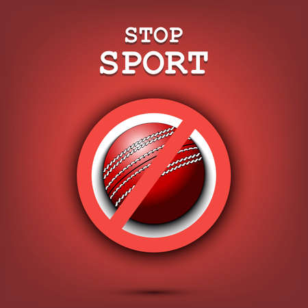 Sign stop and cricket ball. Stop sport. Cancellation of sports tournaments. Pattern design. Vector illustration 向量圖像