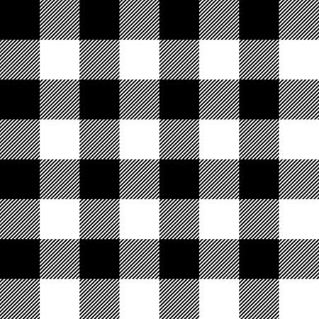 Tartan plaid. Scottish pattern in black and white cage. Scottish cage. Traditional Scottish checkered background. Seamless fabric texture. Vector illustration Ilustración de vector