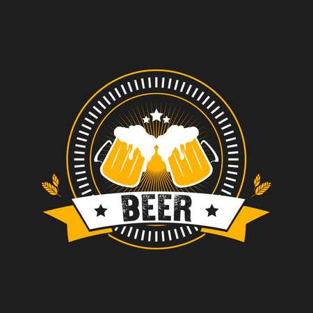 Beer logo. Pattern for design emblem, icon, label, banner. Print on t-shirt graphics. Design template on isolated background. Vintage style. Vector illustration Illustration