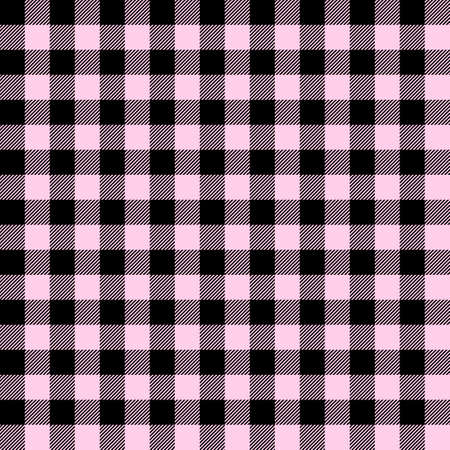 Tartan Valentine's Day Pink plaid. Scottish pattern in black and pink cage. Scottish cage. Traditional Scottish checkered background. Seamless fabric texture. Vector illustration