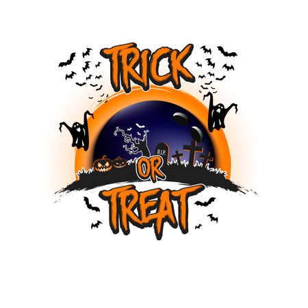 Halloween pattern. Trick or treat. Bowling template design. Bowling ball, pumpkins, spooky tree, crosses, coffin, ghost and bat. Pattern for banner, poster, party invitation. Vector illustration