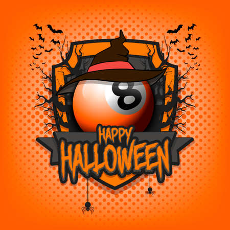 Halloween pattern. Billiard logo template design. Billiard ball in a hat on a background of spooky trees and bats with a shield. Pattern for banner, poster, party invitation. Vector illustration 向量圖像