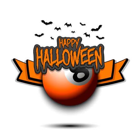 Happy Halloween pattern. Billiard template design. Billiard ball and bat. Design pattern for banner, poster, greeting card, flyer, party invitation. Vector illustration