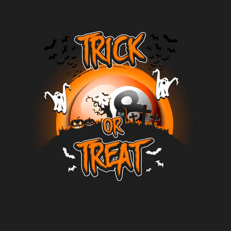 Halloween pattern. Trick or treat.m Billiard template design. Billiard ball, pumpkins, spooky tree, crosses, coffin, ghost and bat. Pattern for banner, poster, party invitation. Vector illustration