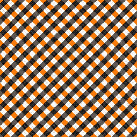 Halloween Argyle plaid. Scottish pattern in orange, black, white and gray rhombuses. Scottish cage. Traditional Scottish background of diamonds. Seamless fabric texture. Vector illustration