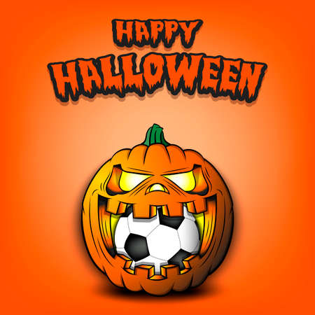 Happy Halloween. Soccer ball inside frightening pumpkin. The pumpkin swallowed the ball with burning eyes. Design template for banner, poster, greeting card, flyer, party invitation. Vector illustration Vector Illustration