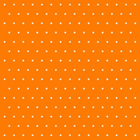 Halloween pattern polka dots. Template background in orange and white polka dots . Seamless fabric texture. Vector illustration Ilustración de vector