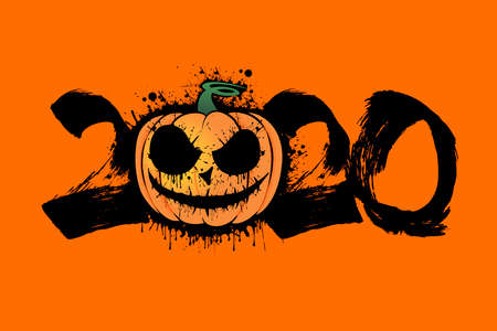 Abstract number 2020 in grunge style and Halloween pumpkin from blots. Happy Halloween. Design pattern for banner, poster, greeting card, flyer, party invitation.