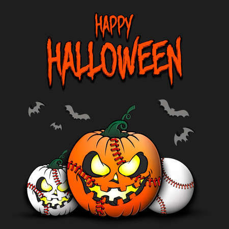 Happy Halloween. Template baseball design. Baseball balls in the form of a pumpkins on an isolated background. Pattern for banner, poster, greeting card, flyer, party invitation. Vector illustration