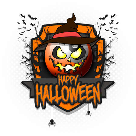 Happy Halloween. billiard ball in the form of a pumpkin in witch hat on an isolated background. Design template for banner, poster, greeting card, flyer, party invitation.